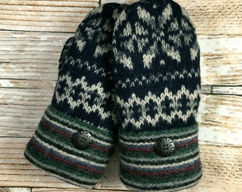 Sweater Mittens - Super Warm!  upcycled, felted wool and DOUBLE lined navy grey