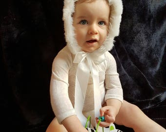 Gorgeous Girls or Boys Bodysuit with Fur Trim Hood photo prop, photography, Newborn photo prop, Sitter photo prop, baby photo prop
