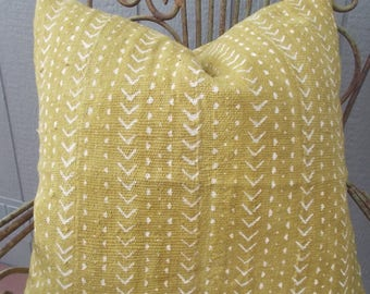 Mustard Yellow African white arrows and dots mud cloth Lumbar  pillow cover