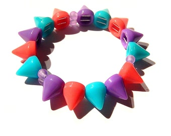 Pastel Spike Bracelet, Candy Colored Spiked Jewelry