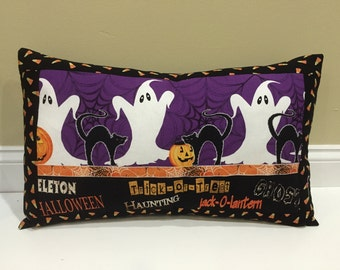 SALE, DISCONTINUED, Halloween Pillow, Trick or Treat, Ghost, Pumpkin