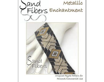 Peyote Pattern - Metallic Enchantment Peyote Cuff / Bracelet  - A Sand Fibers For Personal and Commercial Use PDF Pattern