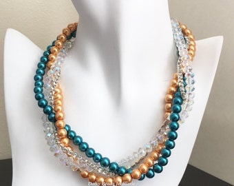 Bridesmaid Necklace Teal and Orange Necklace Bridesmaid Gift Multistrand Necklace Wedding Necklace Teal Wedding Chunky Necklace Jewelry