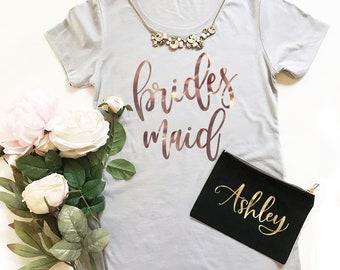 Rose Gold Bridesmaid Shirts Bridesmaid tshirts Bachelorette Party Shirts Bridesmaid Tops (EB3249BP) FITTED SHIRTS