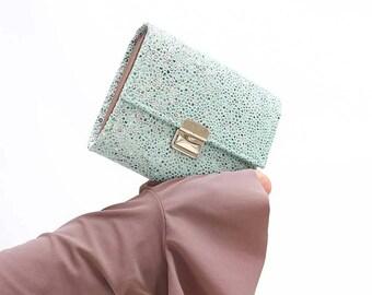 mint stingray embossing wallet, mint womens wallet, turquoise wallet clutch, small mint wallet, leather wallets for women, unique wallet