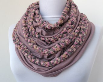 30% OFF SALE - Dusty Rose Mauve Set - Jersey Cotton Fabric Circle Scarf & Knit Scarflette/Necklace - Infinity Scarf - Loop Scarf - 364