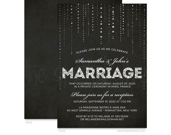 Silver Glitter & Black Wedding Reception Only Invitations - Printed Invitations