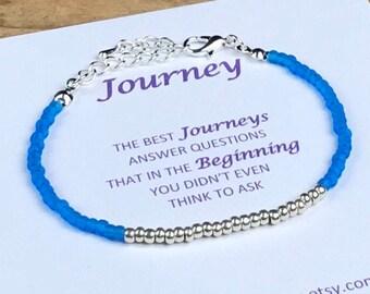BOHO Seed Bead Friendship Bracelet with Message Card, UK Seller, seed bead jewellery , blue bracelet