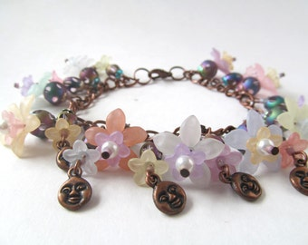 Flower Fairy Bracelet, Copper Moon Charm Bracelet, Whimsical Jewelry, Pastel Flower Beads, Moon Charms, Jewelry by Darla Diez