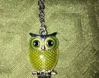 """Yellow Owl Necklace on 16"""" silver toned chain with lobster clasp"""