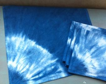 Four Shibori cotton dinner napkins indigo dyed corner sunburst
