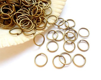 100 Antique Bronze Open Jump Rings 8mm -11-4