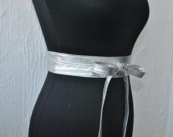 Metallic silver Leather obi belts. Genuine Italian leather belts.