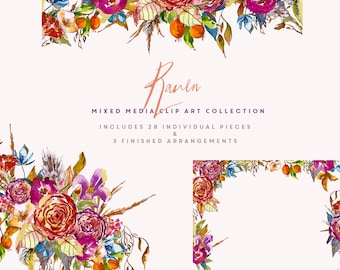 Flower Watercolour Clipart Collection, Hand Painted Graphics - Raven