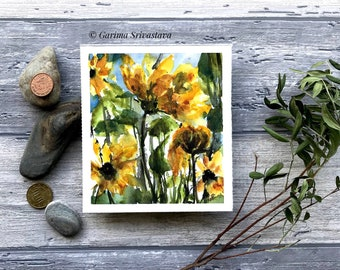 Abstract original floral watercolor painting sunflower field artwork wall art eye catching botanical art small bright cheerful aquarell