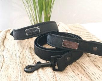 Black vegan leather dog collar