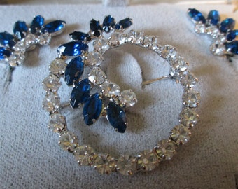 Vintage Sparkly Clear and COBALT Blue Circle Pin and Matching Earrings (clip)*B David in original box*9984