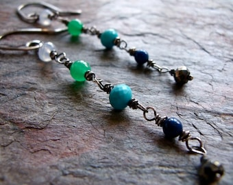 Sterling Silver Chalcedony Jade Turquoise Lapis Lazuli Pyrite Wire Wrapped Earrings