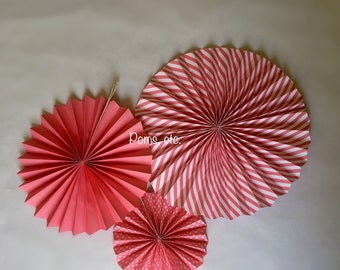Pink paper fan set of 3, polka dot, striped, solid, hanging fans, paper fans