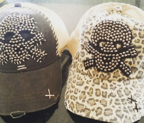The Vintage Junkie...Embellished Cheetah Print Trucker Hat with Hand Stitched Gunmetal Beaded Skull Applique