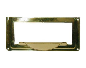 Card Holder - Stamped Brass Card Holder with Pull for Card Catalog or File Cabinet