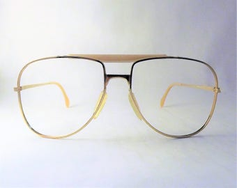 Mens Aviator Eyeglasses, Zeiss Competition Frames, Big Gold Metal Frames, Elvis Glasses, Mod Eyeglasses, Double Bridge Glasses, West Germany