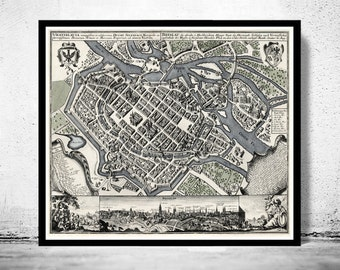 vintage Old Map of Wroclaw with gravures, Poland 1735 Vintage Breslau