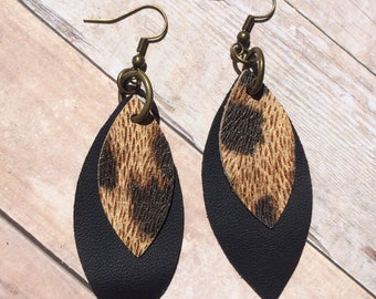 Leaf layered leather earrings, leopard on black leather leaf shape earrings, leopard and black layered leather earrings