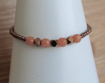 Orange aventurine and Copper plated hematite and copper seed beads adjustable bracelet