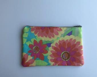 Floral zipper coin purse