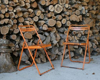 """Pair of outdoor folding chairs """"industrial"""" 60s vintage"""