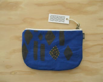 Hand Printed Royal Blue Fabric Pouch - Zipper Pouch with Handmade Fabric and Hand Embroidery, Geometric Blue and Yellow fabric
