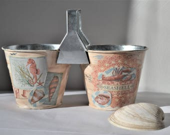 BEACHY TIN CONTAINER Double Can Storage Decoupaged Beach Theme Storage Container