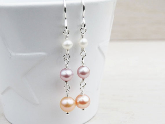 Long Pearl Drop Earrings - Sterling Silver
