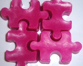 Puzzle Pieces Party Favor Soaps 1 set of 4 soaps