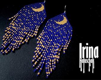 Beaded earrings moon night, seed bead earrings, modern earrings, boho earrings, fringe earrings, beadwork jewelry, dark blue and gold