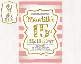 15th birthday invitation etsy 15th birthday invitation fifteenth birthday party gold glitter words hot pink stripes teen birthday invitation any age color 1590 filmwisefo