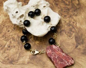 Slab Bracelets, Gemstone Bracelets, Chain Bracelets, Chain Jewelry, Agata Bracelets, Boho Jewelry, Stackable Bracelets, Wire Wrapped Jewelry