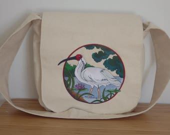 Embroidered Crossbody Bag. Messenger Bag. Everyday Bag. School Bag. Travel Bag. Embroidered Crested Ibis. Off-White Cotton Canvas Bag