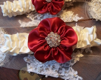 Apple Red Bridal Garter Set on an Ivory Satin Band, Wedding Garter Set