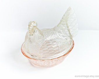 Large Glass Hen on Nest Bowl Chicken on Nest Basket BIG Oversize
