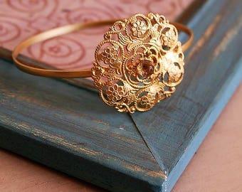 MOTHERS DAY GIFT, Filigree Bangle, Flower Bracelet, Flower Bracelet, Smoky Quartz Bracelet, One Stone Bracelet, Gold  Bangle, Gift For Her