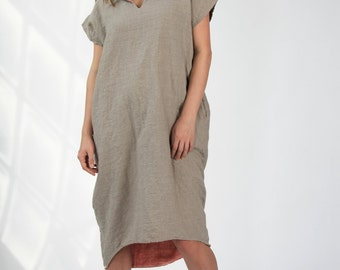 Linen Dress with Two-Tone Notched Collar and High-Low Hem - Natural/ Chambray Coral