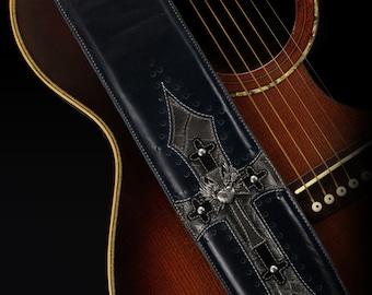 Leather Guitar Strap:  Blue Harbinger Guitar Strap