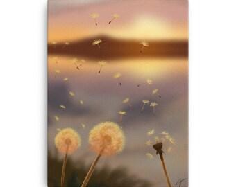 Dandelions Canvas Print, Flower Wall Art, Home Decor