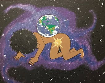 Weight of the World acrylic painting