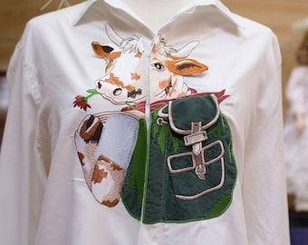 Vintage White Cotton Shirt with Happy Cow