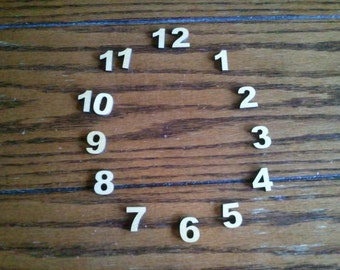 Miniature Basswood Wood Clock Numbers - Wood2art - 15 Laser Cut 3/4 inch pieces  Ariel Black -Font-