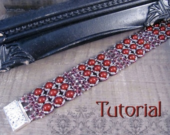 Tutorial for beadwoven pearl bracelet 'To The Nines' - PDF beading pattern - DIY