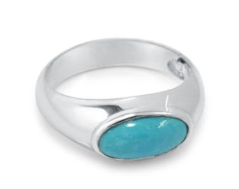 Oval Turquoise ring, Turquoise silver ring, Turquoise rings for women,  Turquoise sterling ring band,  Turquoise gemstone rings